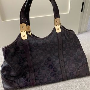 Vintage eggplant leather Gucci tote